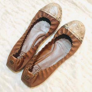[Tory Burch] Brown Snakeskin Toe Cap Flats